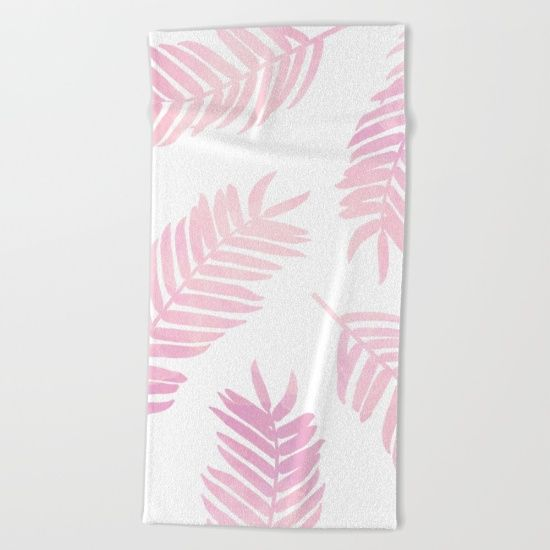 Pink Palm Leaves White Background Beach Towel By A Little Leafy