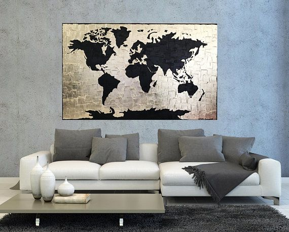 World map wall art world map decor map decor gold foil map of world map wall art world map decor map decor gold foil map of the world gold leaf art painting on canvas large canvas art gold map gumiabroncs Choice Image