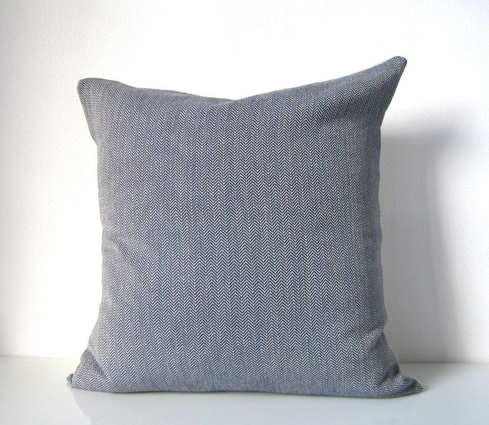 Decorative modern pillow - blue herringbone with natural linen, organic cotton minimalist masculine pillow. $38.00, via Etsy.
