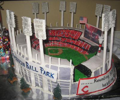 cincinnati reds great american ball park stadium wedding cake