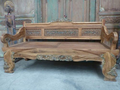 Superbe Balinese Furniture Hand Carved Recycled Teak Bench Seat Daybed Antique  Finish