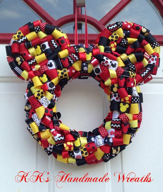 Mickey Mouse Ribbon Wreath 14 By Kkshandmadewreaths On Etsy 40 00 Halloween Ribbon Ribbon Wreath Wreaths