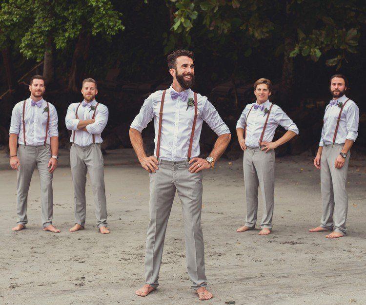 Graue anz ge mit lile fliege und braunen hosentr gern for Hochzeitsanzug fliege