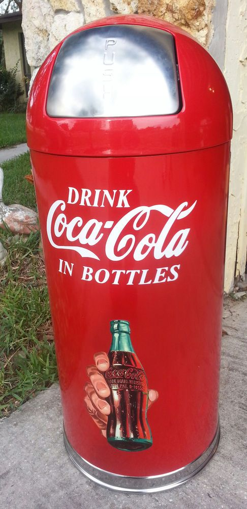 New Coca Cola Metal Rubbermaid Trash Can Waste Receptacle