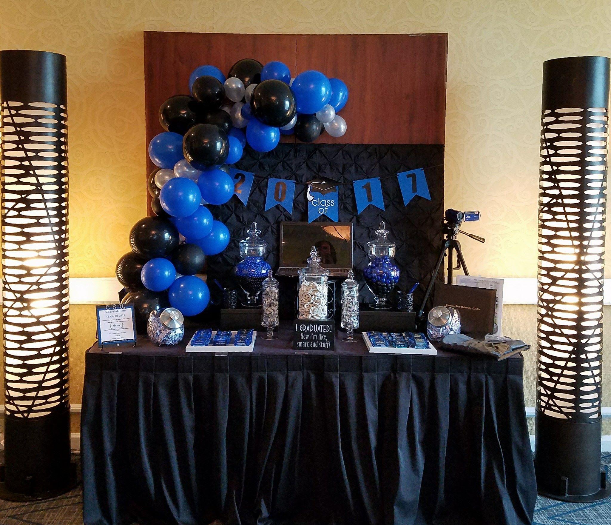 Mass Communications Graduate Sweet Treat Table Black Party Decorations Blue Graduation Party Blue Party Decorations