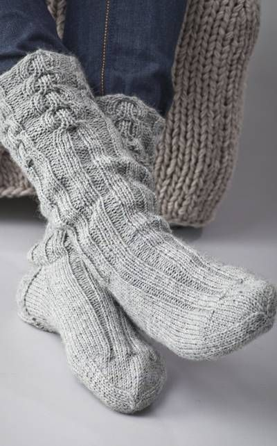 Knitted man's socks with cables Shoe size of about 42 ...
