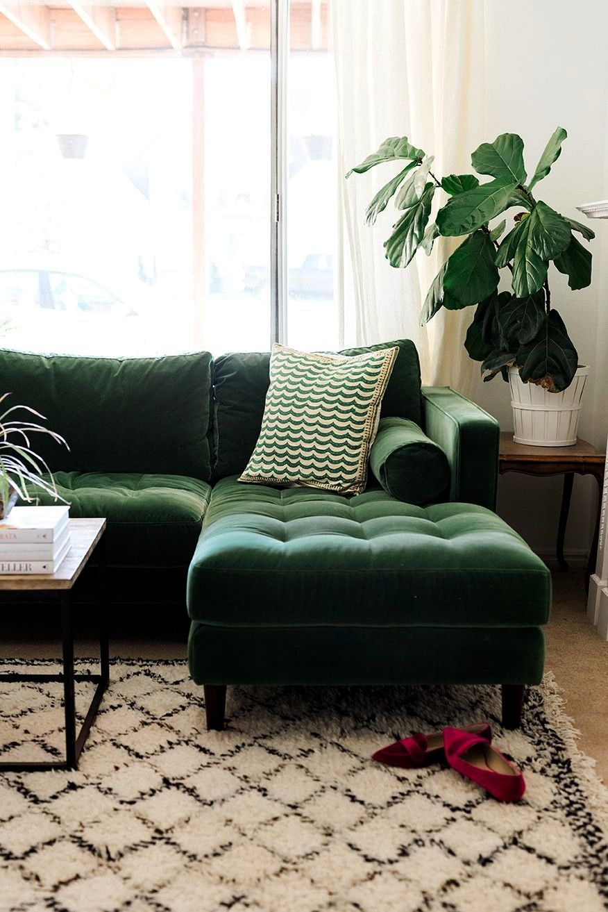 Interiorgreenvelvetsectional Interior A lush space SVEN Grass Green sectional Shop the Edlyn Petite TwoPiece Chaise Sectional and more Anthropologie at Anthropologie toda...
