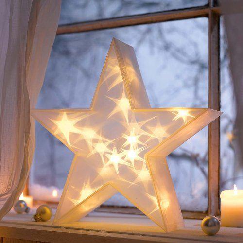 3d Weihnachtsbeleuchtung.Weihnachtsbeleuchtung 3d Stern 20 Led S Warmweiß Batteriebetrieb 36