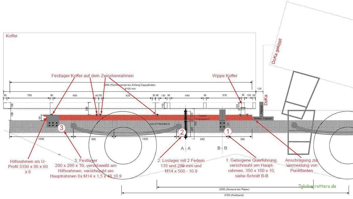 Konstruktion Hilfsrahmen LKW - Expeditionsmobil: Seitenansicht des ...