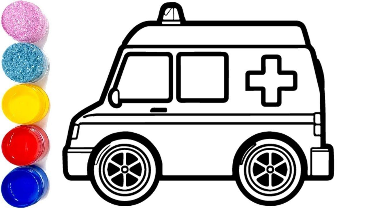 Emergency Ambulance Drawing And Coloring How To Draw Ambulance Car Step By Step Coloring For Kids Learning Colors Emergency Ambulance