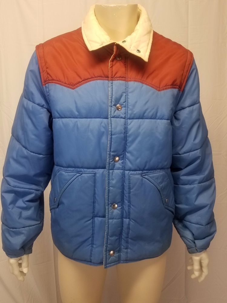 3959c6f483768 Vtg 70s 80s JCPenney Blue Brown Nylon Puffer Coat Vest Mens L - Stranger  Things!  JCPenney  Everyday
