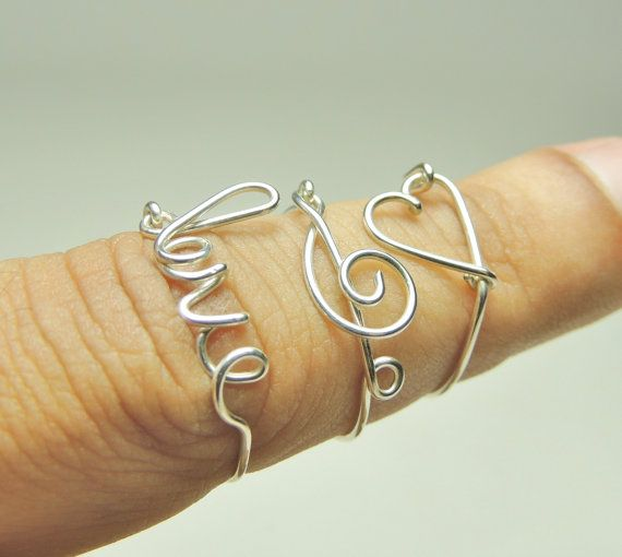 three rings set heart treble clef love  sterling silver by keoops8, $18.95