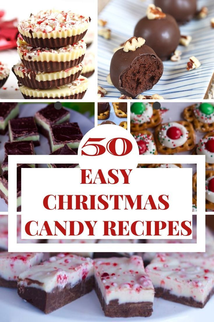 50 Easy Christmas Candy and Treat Recipes (Yummy Gift Ideas) Christmas Candy that does not require the oven. Not a baker then we have the best candy recipes for you. 50 Easy Christmas Candy and Treat Recipes #christmascandy #christmastreats #chocolate #candyrecipes #fudgerecipes #truffles #peppermintbark