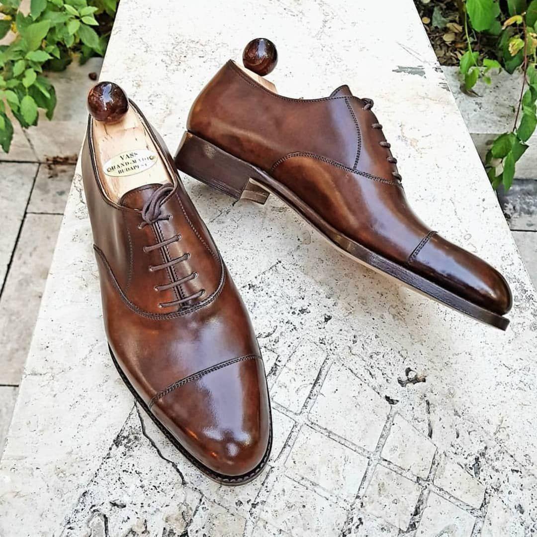 Brown oxford dress shoes men ascot shoes brown oxford