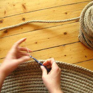 36 in Crochet jute circle rug / 36 / 100% naturals materials