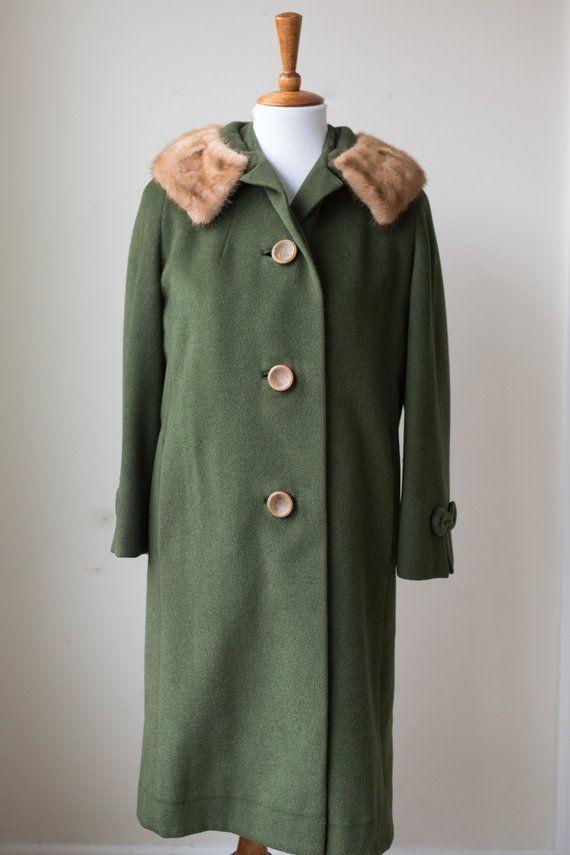 Vintage Rothmoor Coat Size Medium Vintage Wool Coat Vintage Fur Collar Coat Green Coat Fur Trim Coat Vintage Fur Fur Collar Coat