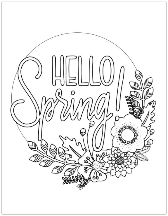 Printable Spring Coloring Page Spring Coloring Pages, Spring Coloring  Sheets, Coloring Pages For Teenagers