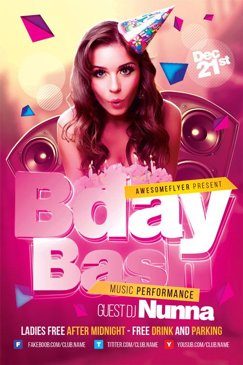 Birthday Bash Flyer Template  HttpFfflyerComBirthdayBash