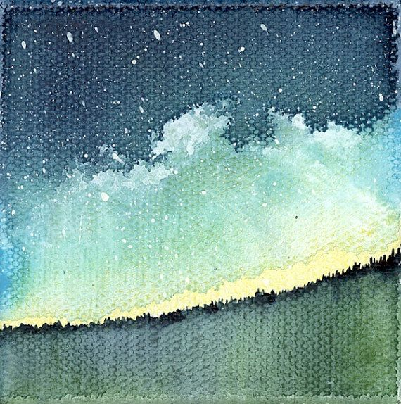 Mini Painting, Night Sky Watercolor, Galaxy Artwork, Constellation Painting, Northern Lights Art, 39/100 wishes