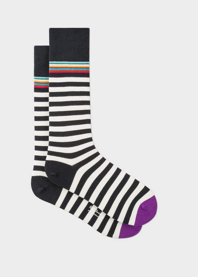 385faa1b7d686b Paul Smith Men's Black And White Two-Stripe Socks | Products ...