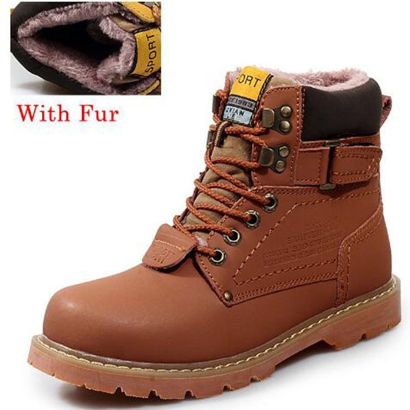 Genuine Leather Men Boots Winter Ankle Boots New Fashion Footwear Combat Hiking