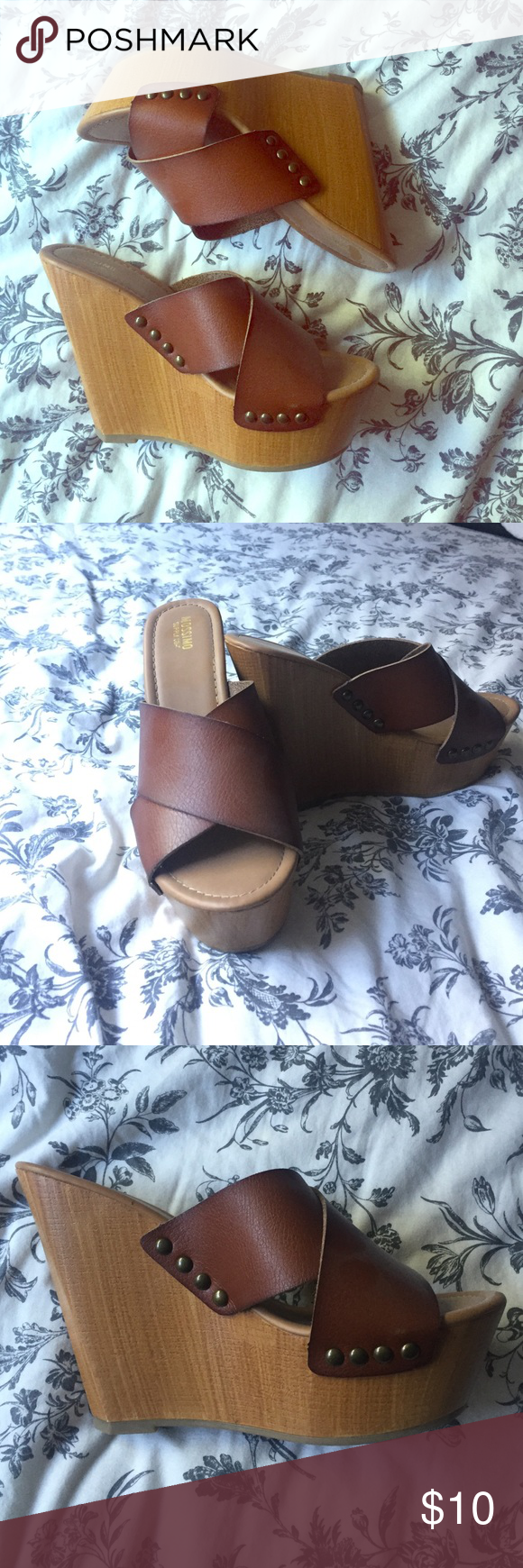 Wedge sandals Cute chunky wedge sandals from target camel color size 8 Mossimo Supply Co Shoes Heels