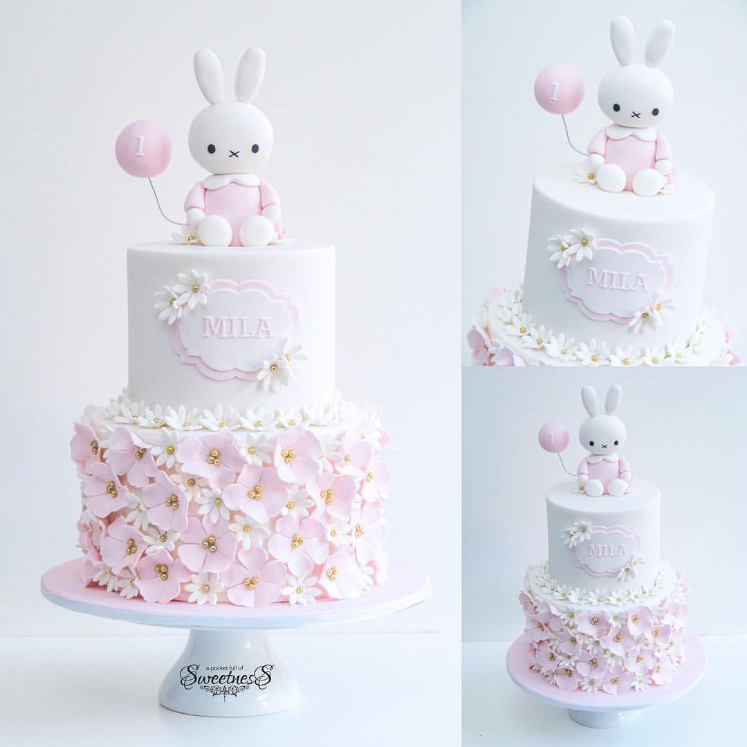 Pink & White Flowery Bunny with Balloon Cake (Mila) Baby