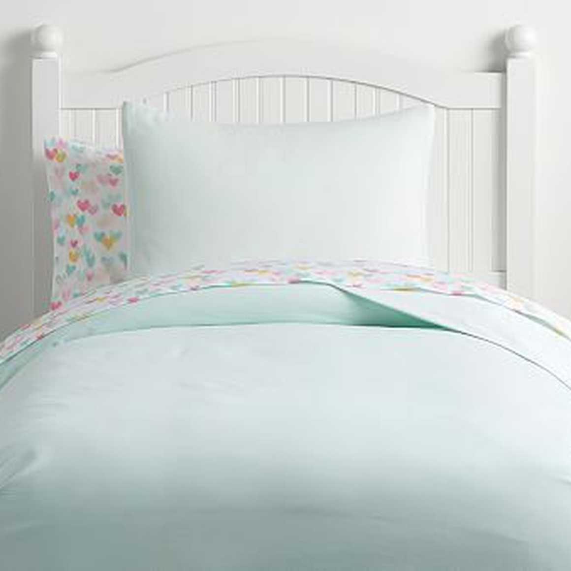 Full//Queen Basics Chambray Duvet Cover Set Cool Aqua
