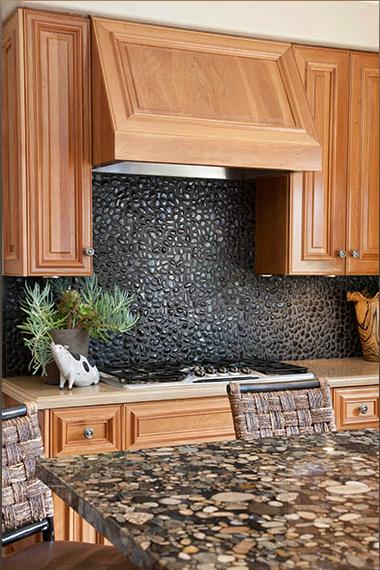 Pebbles As A Backsplash Kitchen