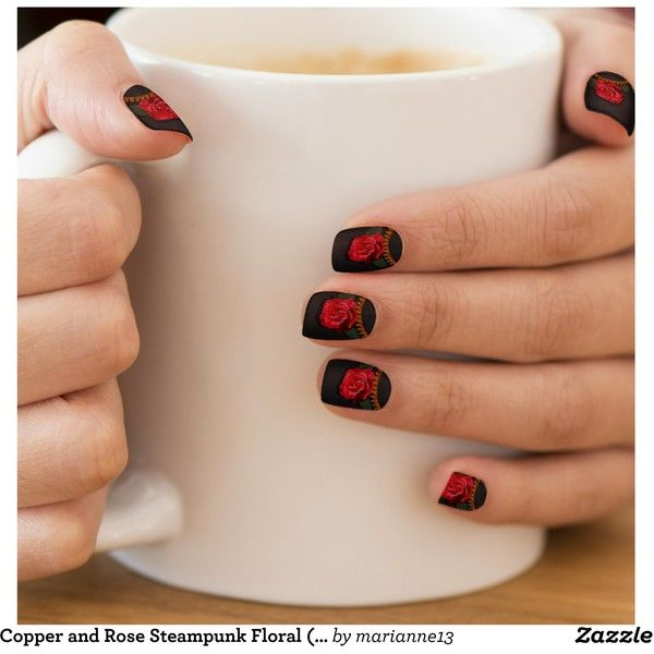 Copper and Rose Steampunk Floral (Pure Evil Black) Minx Nail Wraps ...