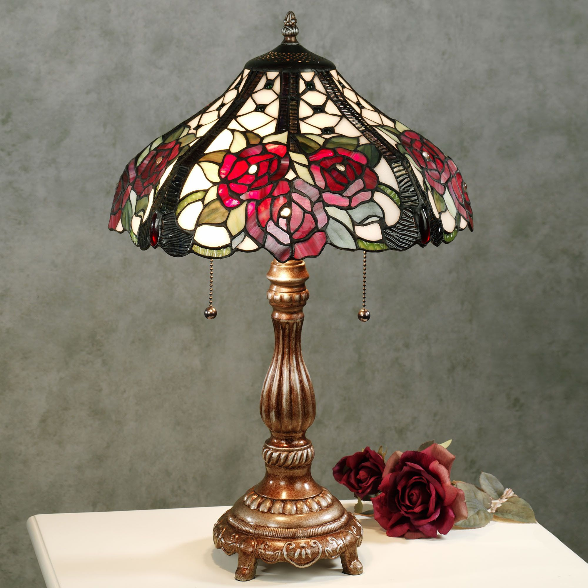 Exceptional Rosalee Bouquet Stained Glass Table Lamp With CFL Bulbs