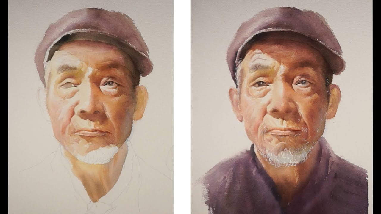 Watercolor Portrait Painting Tutorial Old Man Portrait Youtube