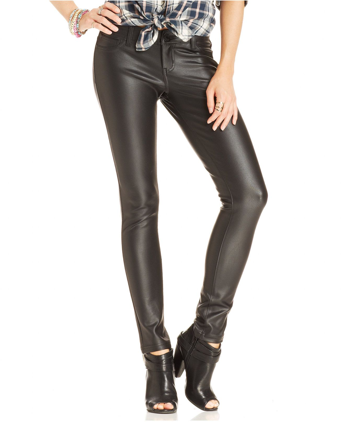 46274d6e6e006 Celebrity Pink Jeans Juniors' Faux-Leather Skinny Pants - Juniors Leggings  & Pants - Macy's ORDERED size 5 10/6
