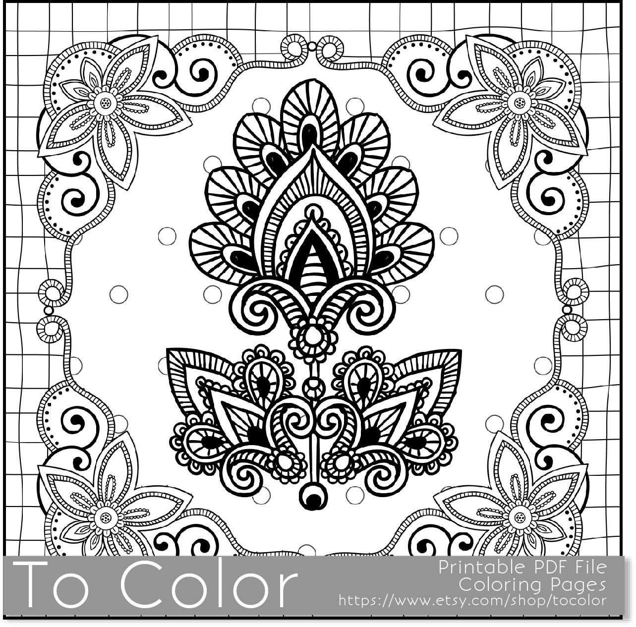 Printable Flower Frame Coloring Page For Adults PDF JPG Instant Download Book Sheet Grown Ups Digital Stamp By ToColor On Etsy