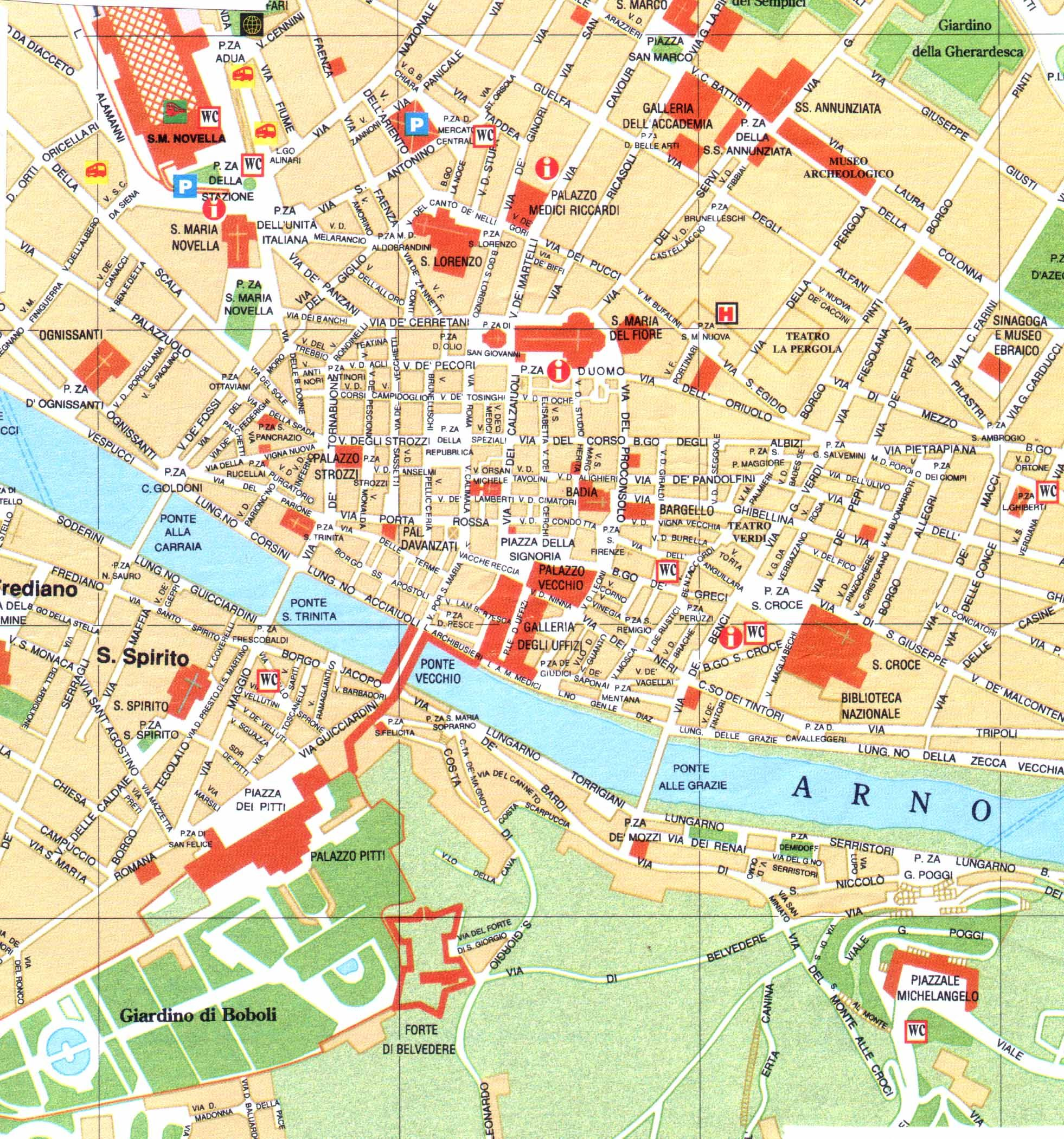 Florence City Center Map Florence Map Of Florence Italy