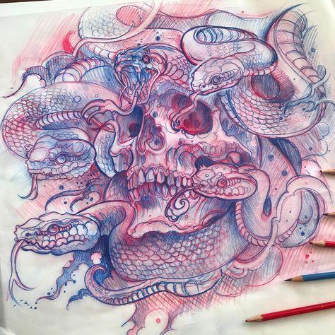 "Derek Turcotte on Instagram: ""Medusa skull sketch! Idea for painting or tattoo, #sketch #worldofpencils @electricgrizzlytattoo"""