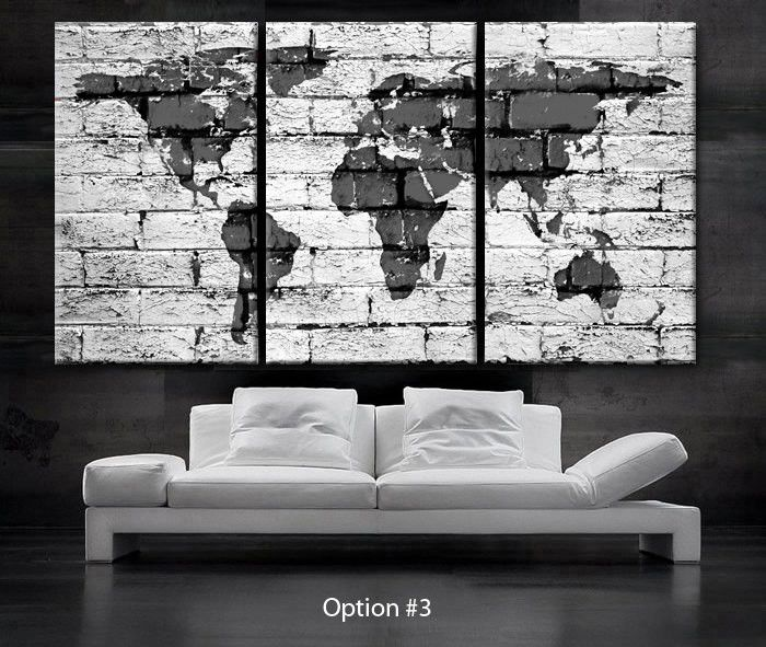 Large 30x 60 3 panels art canvas print beautiful world map bricks large 30x 60 3 panels art canvas print beautiful world map bricks concrete gumiabroncs Image collections