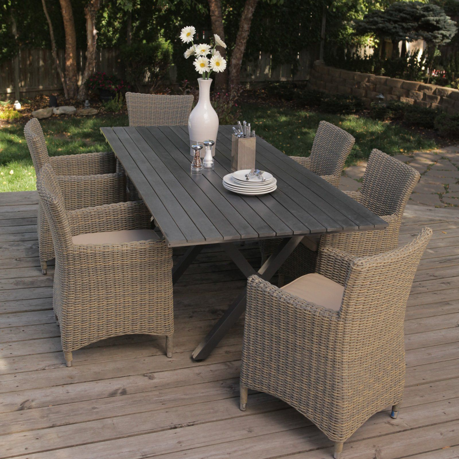 Bella All Weather Wicker Patio Dining Set Seats 6 Outdoor Sets At Hayneedle
