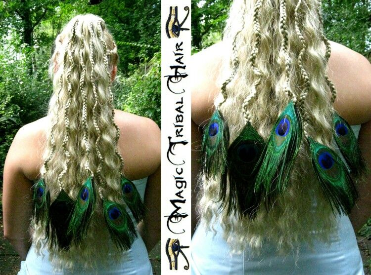 Braided Curled Hair Extensions with Peacock Feathers