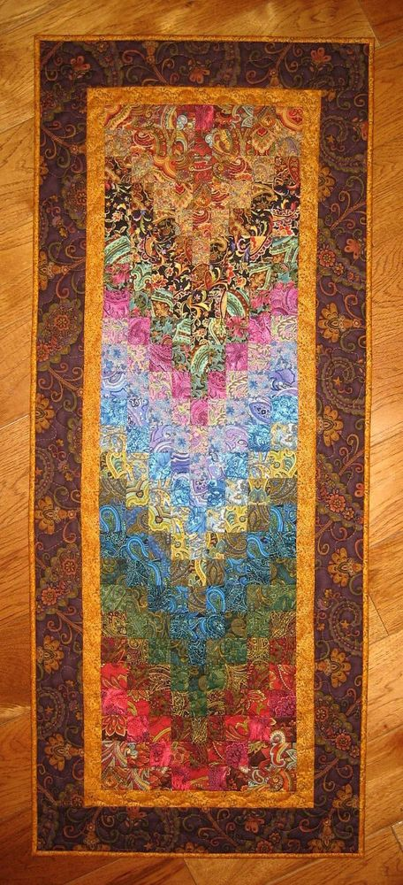 Art Quilt, Paisley Passion Fabric Wall Hanging Handmade Quilt