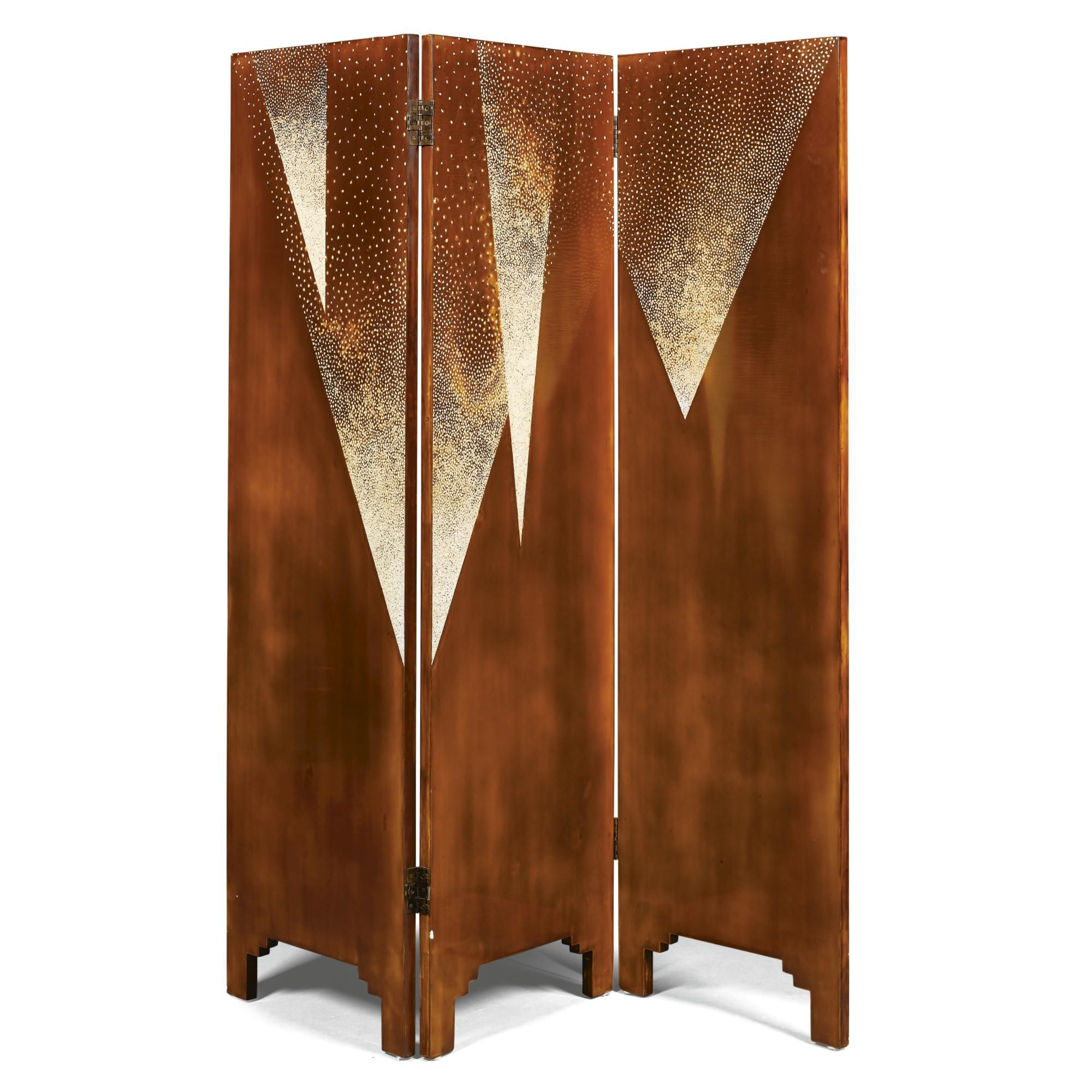 French School A Three Fold Screen Lacquered Wood Eggshell Each