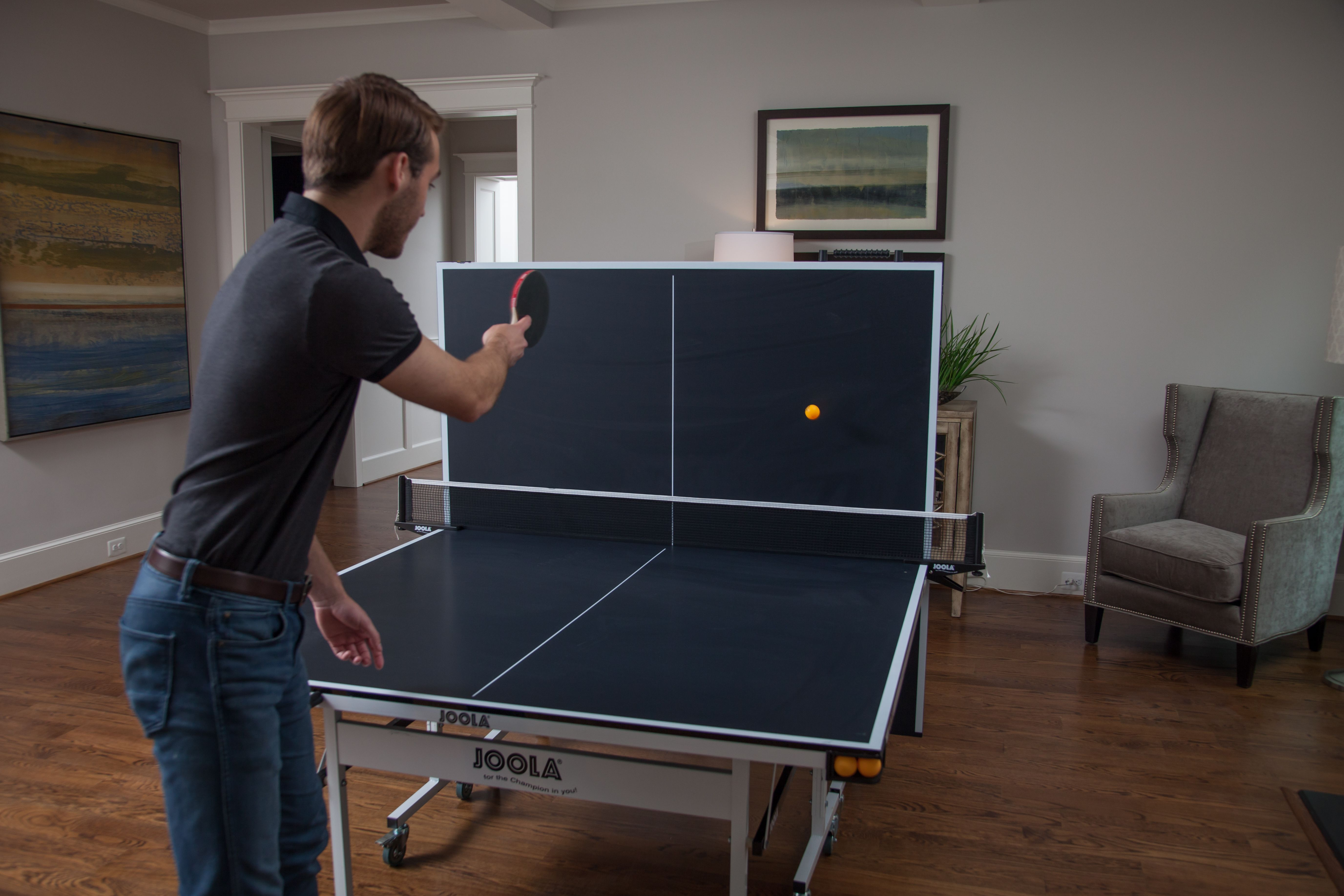 The Joola Rapidplay 150 Table Tennis Table Features A 15mm Mdf Surface 4 Corner Ball Holders Each Of Which Can Store Up To 3 Ping P Table Tennis Indoor Table