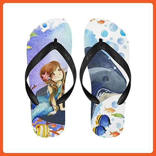 57a6023b1cc0 D-Story Mermaid And Fish Coral Reef Flip Flops Beach Sandals for Men Women