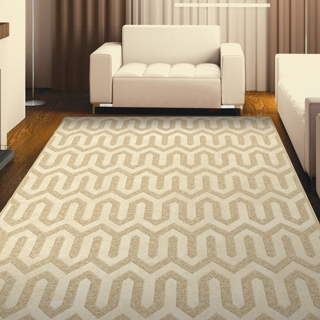 Carolina Weavers Finesse Collection Geo Lines Beige Area Rug (5'3 x 7'6) (5 ft 3 in x 7 ft 6 in), Size 5' x 8' (Plastic, Geometric)