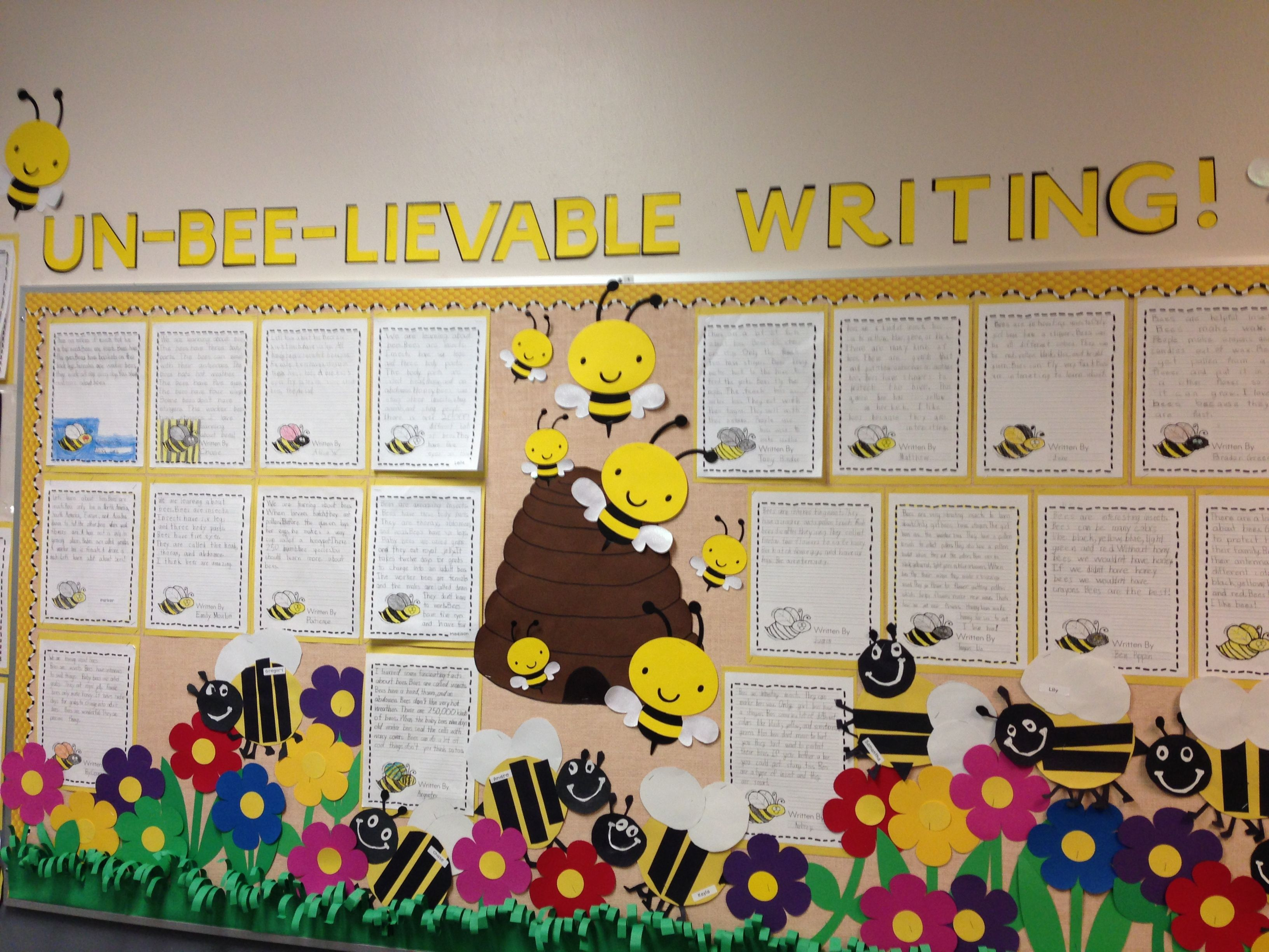 Classroom Ideas With Bees ~ Spring bulletin board un bee lievable writing bumble