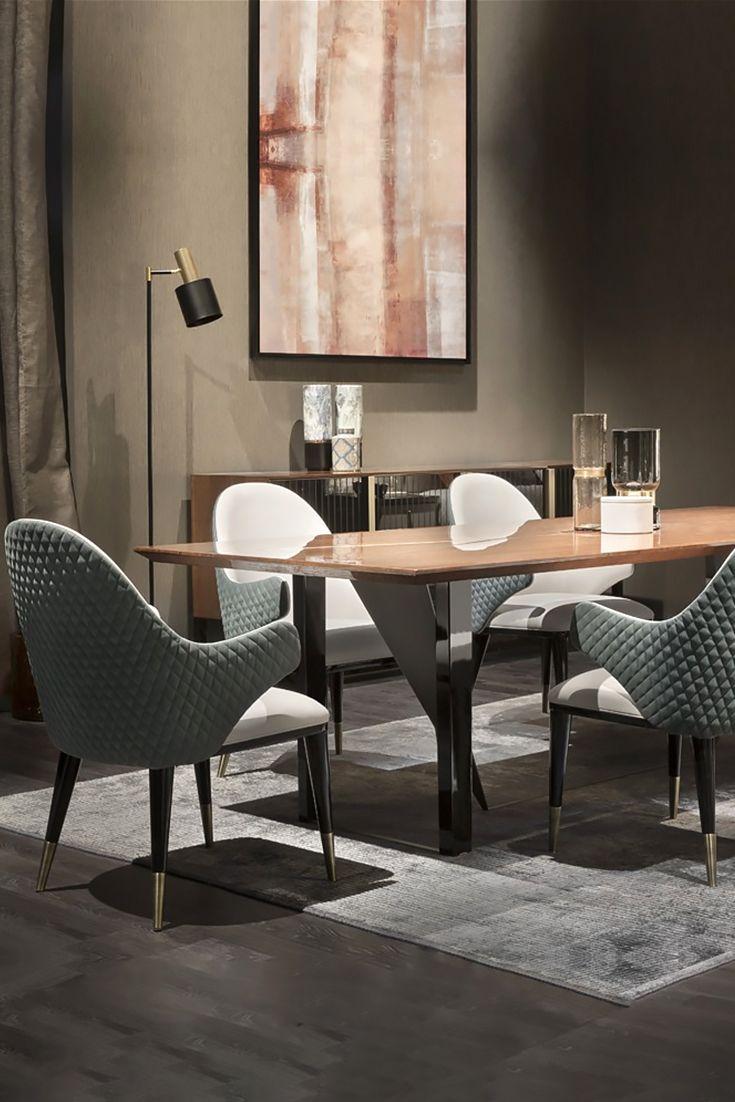 Large Contemporary Italian Ebony Dining Table Set Luxury