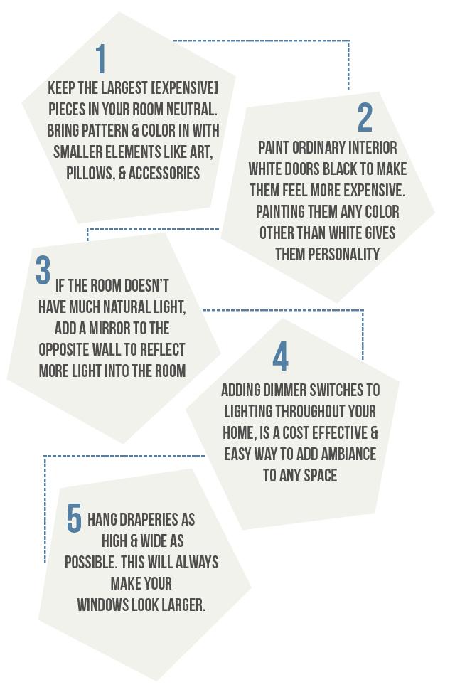 5 interior design tips >>> easy home improvements. #hometricks #interiordesign #interiordesigntips