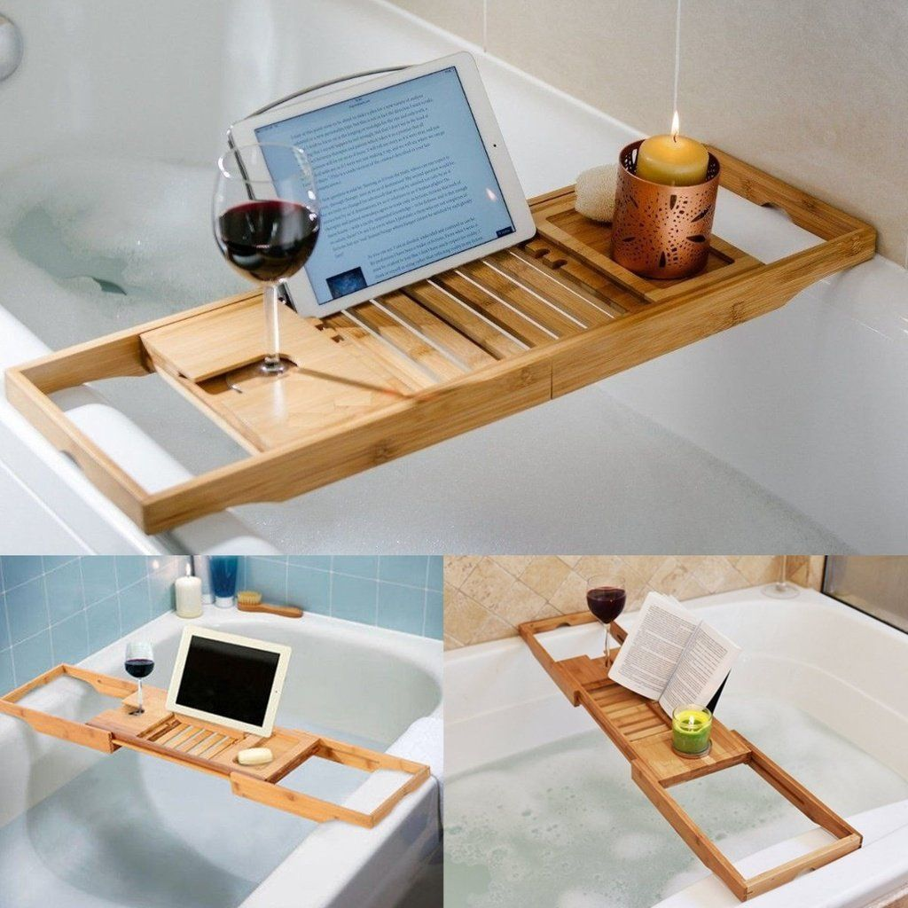 105X22X4.5Cm Bathtub Rack Bamboo Shelf Shower Tub Book Reading Tray ...