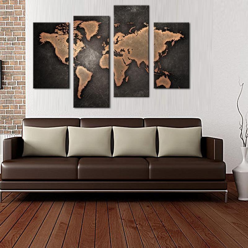 Venta Al Por Mayor Mapa General Del Mundo De Fondo Negro Arte Pintura De Pared…