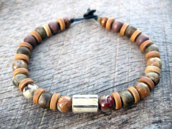 57b686c00ffb Mens tribal surfer bracelet horn agate wood por thehappymushroom Surfer  Bracelets